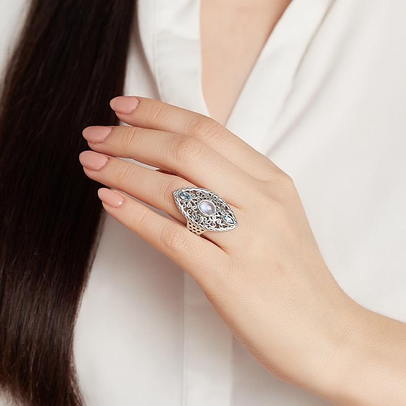 Кольцо микс лунный камень, топаз (серебро 925 пр.) размер 18