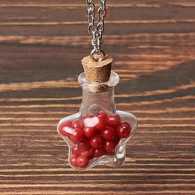 Кулон коралл красный Индонезия (биж. сплав) бутылочка 3,5 см