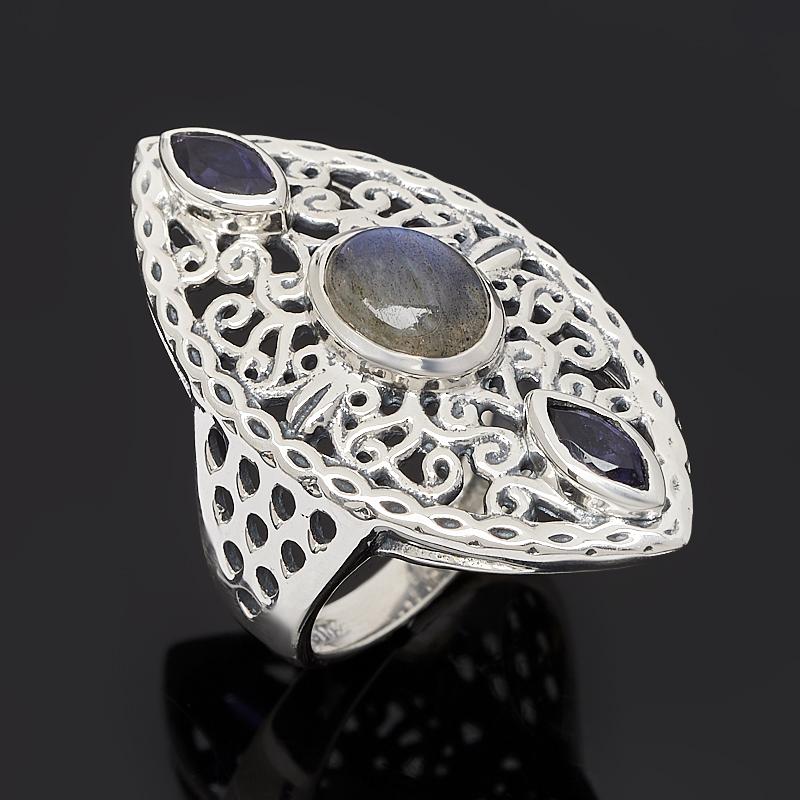 цены Кольцо микс иолит (кордиерит), лабрадор (серебро 925 пр.) размер 17,5