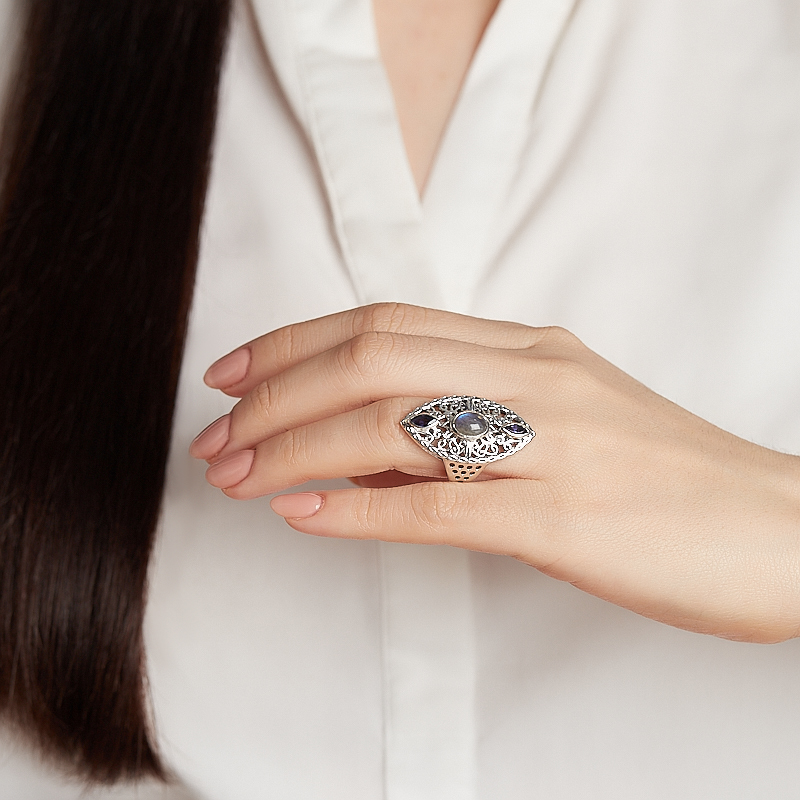 Кольцо микс иолит (кордиерит), лабрадор (серебро 925 пр.) размер 17,5
