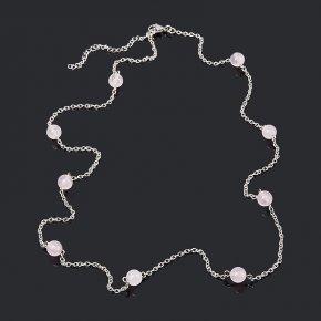 Бусы розовый кварц Бразилия (биж. сплав, сталь хир.) (цепочка) длинные 8 мм 75 см (+7 см)