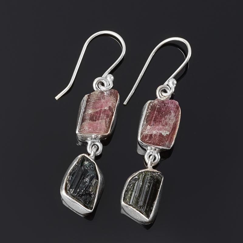 Серьги турмалин зеленый (верделит), розовый (рубеллит) (серебро 925 пр.)