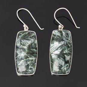 Серьги клинохлор (серафинит) Россия (серебро 925 пр.)