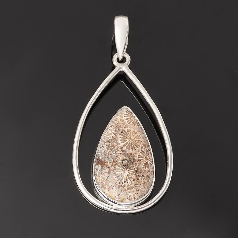 Кулон коралл (серебро 925 пр.) капля