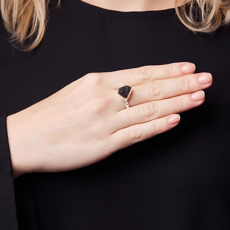 Кольцо молдавит Чехия (серебро 925 пр.) (регулируемый) размер 17