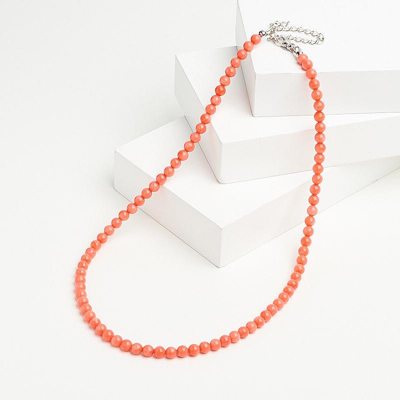 цены Бусы коралл розовый (биж. сплав) 5 мм 45 см (+7 см)
