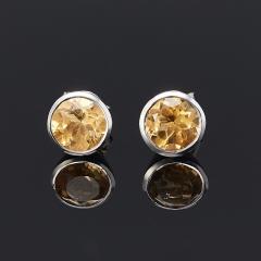 Серьги цитрин Бразилия (серебро 925 пр.) пуссеты огранка