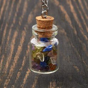 Кулон микс лазурит, сердолик, турмалин (биж. сплав) бутылочка 3 см