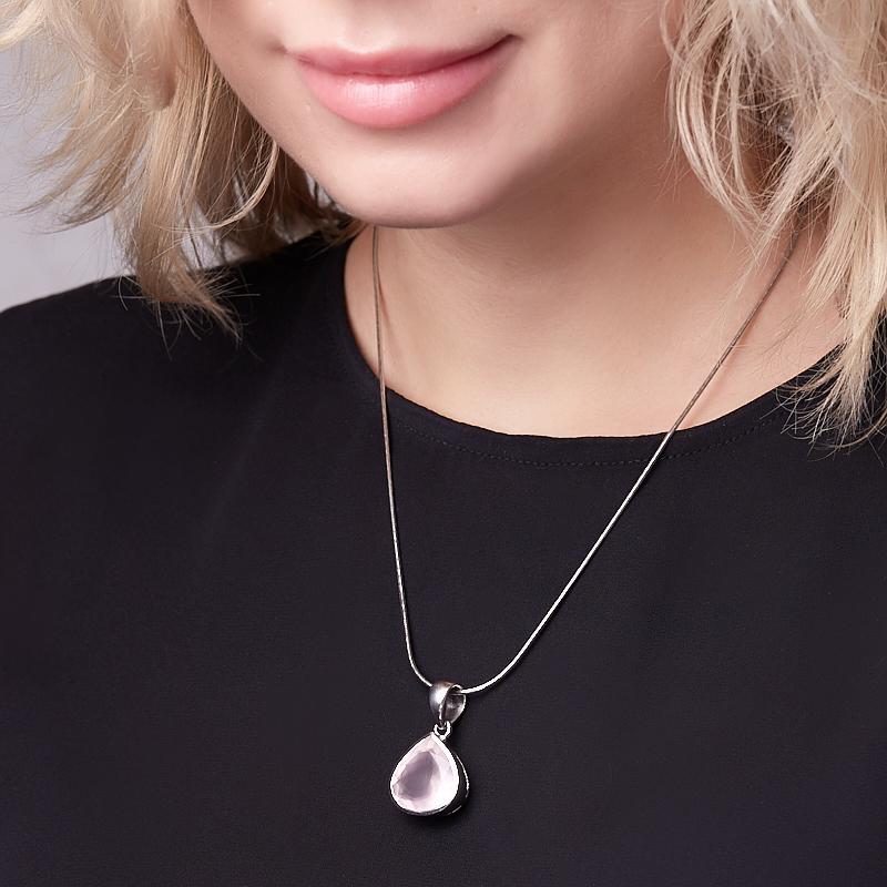 Кулон розовый кварц Бразилия (серебро 925 пр.) капля огранка