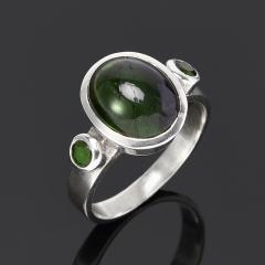 Кольцо турмалин зеленый (верделит) Бразилия (серебро 925 пр.) размер 18