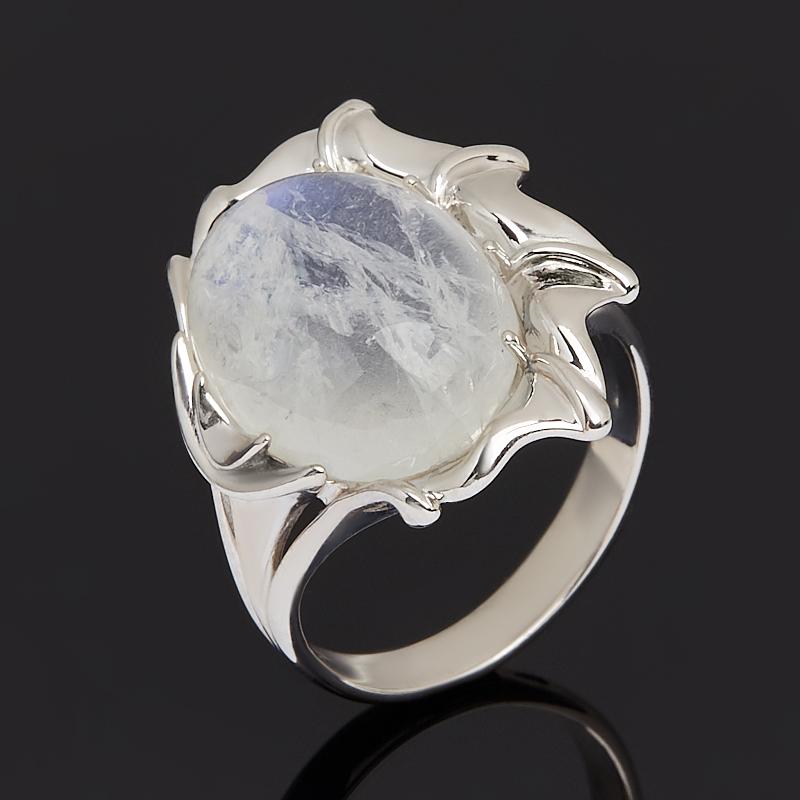 Кольцо лунный камень (адуляр) (серебро 925 пр. родир. бел.) размер 17,5 фото