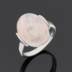 Кольцо розовый кварц Бразилия (серебро 925 пр. родир. бел.) размер 18