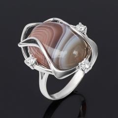 Кольцо агат серый Ботсвана (серебро 925 пр. родир. бел.) размер 17