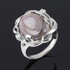 Кольцо агат серый Ботсвана (серебро 925 пр. родир. бел.) размер 18