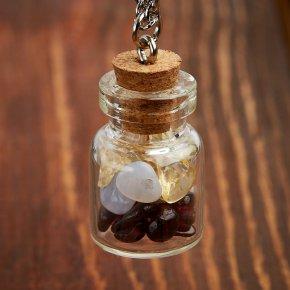 Кулон микс агат, гранат, цитрин (биж. сплав) бутылочка 3 см
