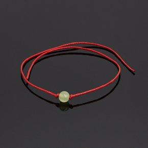 Браслет оникс мраморный зеленый Пакистан (текстиль) красная нить 6 мм 28 см (регулируемый)
