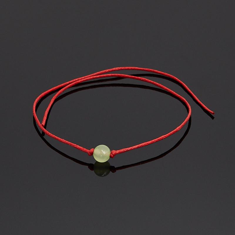 Браслет оникс мраморный зеленый красная нить Для успехов в учебе 6 мм 28 см (регулируемый) (текстиль)