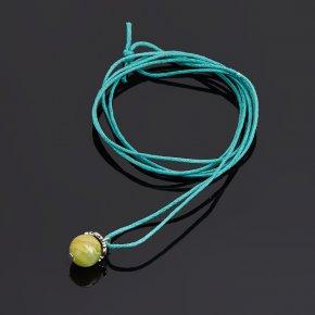 Кулон оникс мраморный зеленый Пакистан (биж. сплав) шар (РМ)