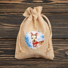 Подарочная упаковка универсальная (мешочек плоский) (текстиль) (бежевый) 130х90 мм