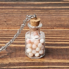 Кулон опал розовый Перу (биж. сплав, стекло) бутылочка огранка 3 см