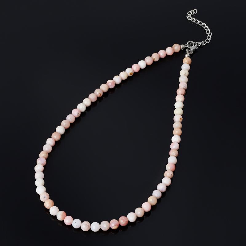 Бусы опал розовый Перу (биж. сплав, сталь хир.) огранка 6 мм 46 см (+7 см)