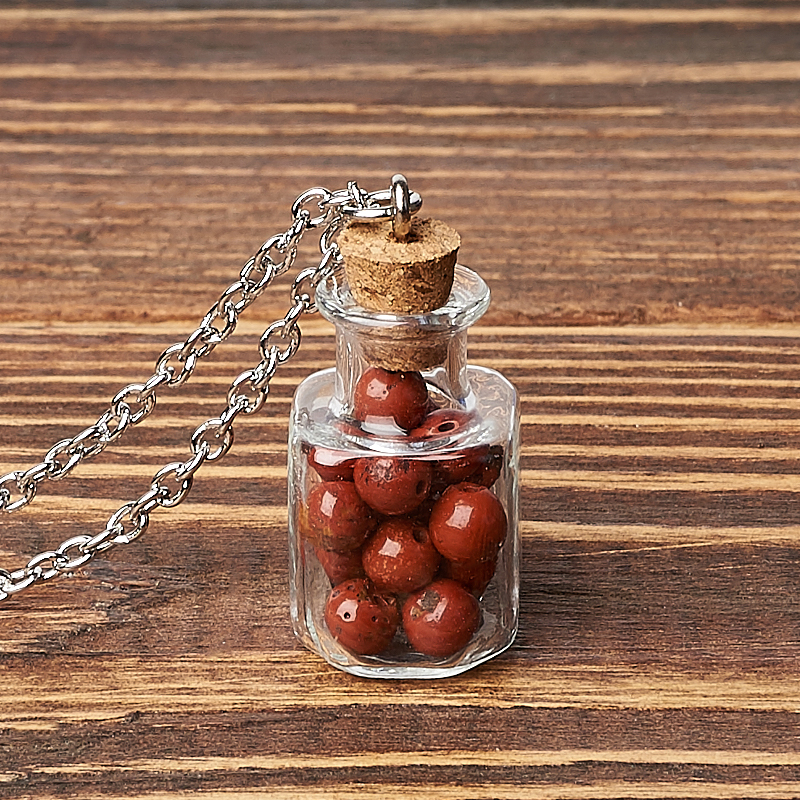 Кулон яшма красная (биж. сплав, стекло) бутылочка 3 см