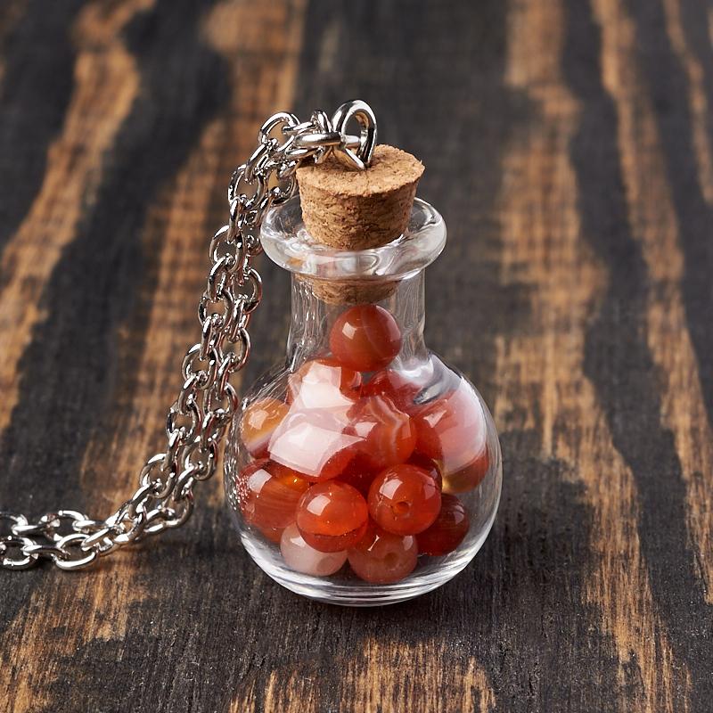 Кулон сердолик (биж. сплав, стекло) бутылочка 3 см кулон сердолик бутылочка биж сплав 3 см