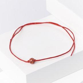 Браслет яшма красная ЮАР (текстиль) красная нить На семейное благополучие 6 мм (регулируемый)
