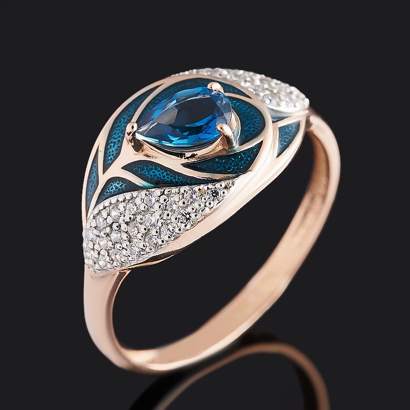 Кольцо топаз лондон (серебро 925 пр. позолота, родир. бел., эмаль) огранка размер 17,5 кольцо топаз лондон огранка серебро 925 пр позолота размер 19