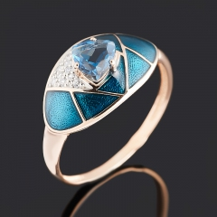 Кольцо топаз лондон Бразилия (серебро 925 пр. позолота, родир. бел., эмаль) огранка размер 17,5