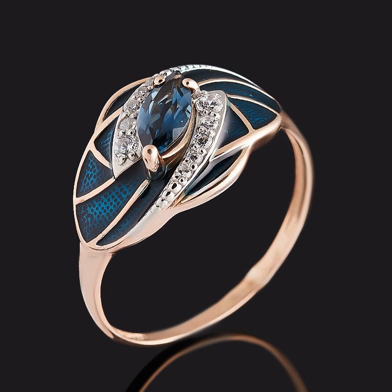 Кольцо топаз лондон (серебро 925 пр. позолота, родир. бел., эмаль) огранка размер 18 кольцо топаз лондон огранка серебро 925 пр позолота размер 19