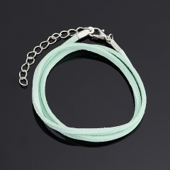 Шнурок (биж. сплав, кожа иск.) (зеленый) 46 см (+4 см)
