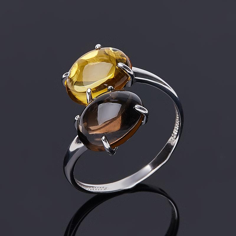 Кольцо микс раухтопаз, цитрин (серебро 925 пр. родир. бел.) размер 18,5