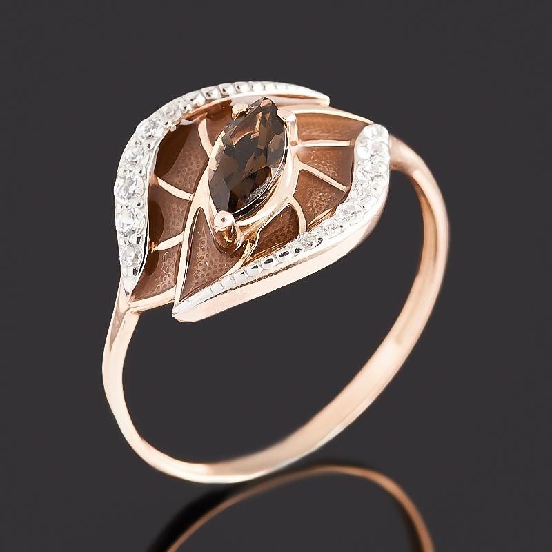 Кольцо раухтопаз (серебро 925 пр. позолота, родир. бел., эмаль) огранка размер 17,5 кольцо раухтопаз серебро 925 пр позолота огранка размер 17 5
