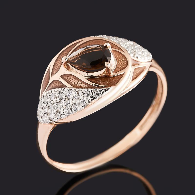 Кольцо раухтопаз (серебро 925 пр. позолота, родир. бел., эмаль) огранка размер 18 кольцо раухтопаз серебро 925 пр позолота огранка размер 17 5