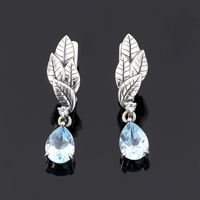 Серьги топаз голубой (серебро 925 пр. оксидир.) огранка