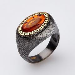 Кольцо янтарь пресс Россия (серебро 925 пр. позолота) размер 17,5