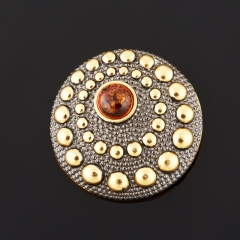 Кулон янтарь Россия (серебро 925 пр. позолота, родир. черн.) круг