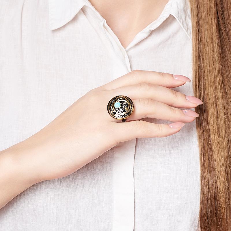 Кольцо бирюза Тибет (серебро 925 пр. позолота, родир. черн.) размер 18