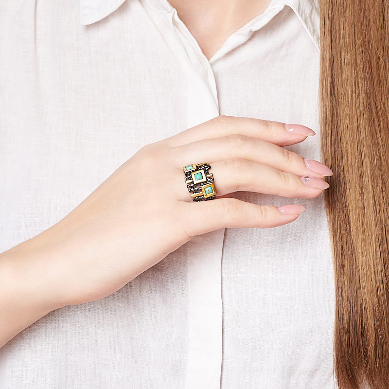 Кольцо бирюза Тибет (серебро 925 пр. позолота, родир. черн.) размер 16