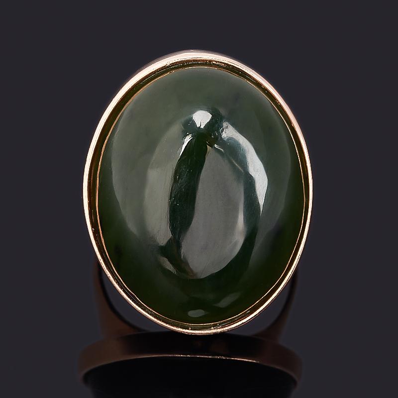 Кольцо нефрит зеленый Россия (серебро 925 пр. позолота) размер 15,5