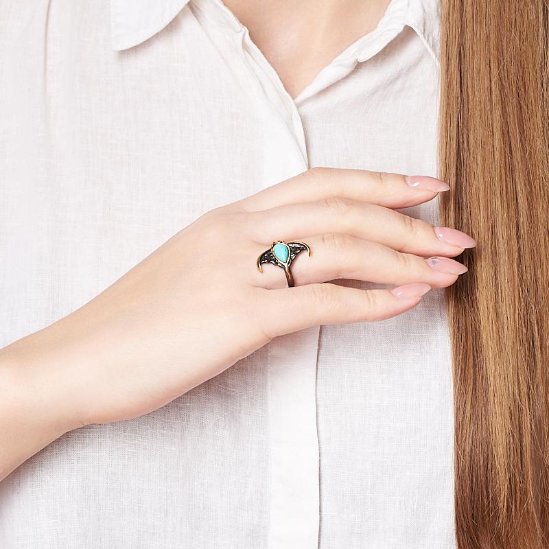 Кольцо бирюза Тибет (серебро 925 пр. позолота, родир. черн.) размер 14,5
