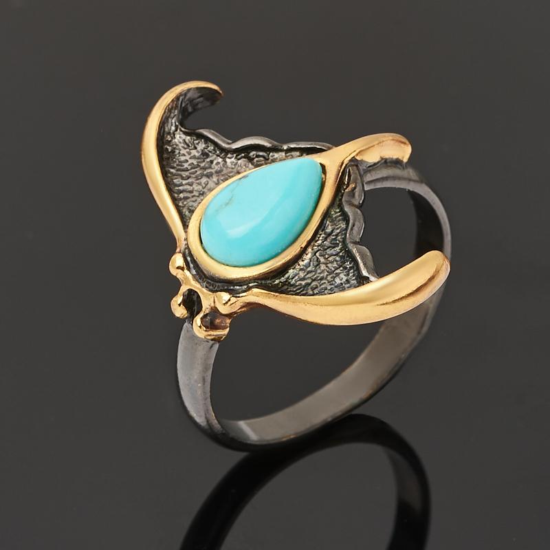 Кольцо бирюза Тибет (серебро 925 пр. позолота, родир. черн.) размер 19