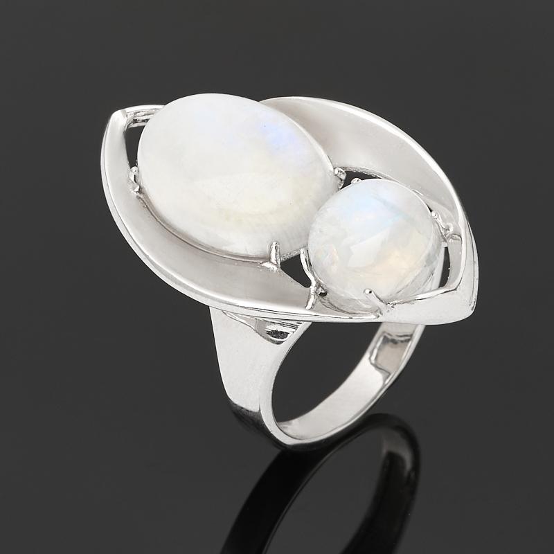 Кольцо лунный камень (адуляр) (серебро 925 пр. родир. бел.) размер 17,5