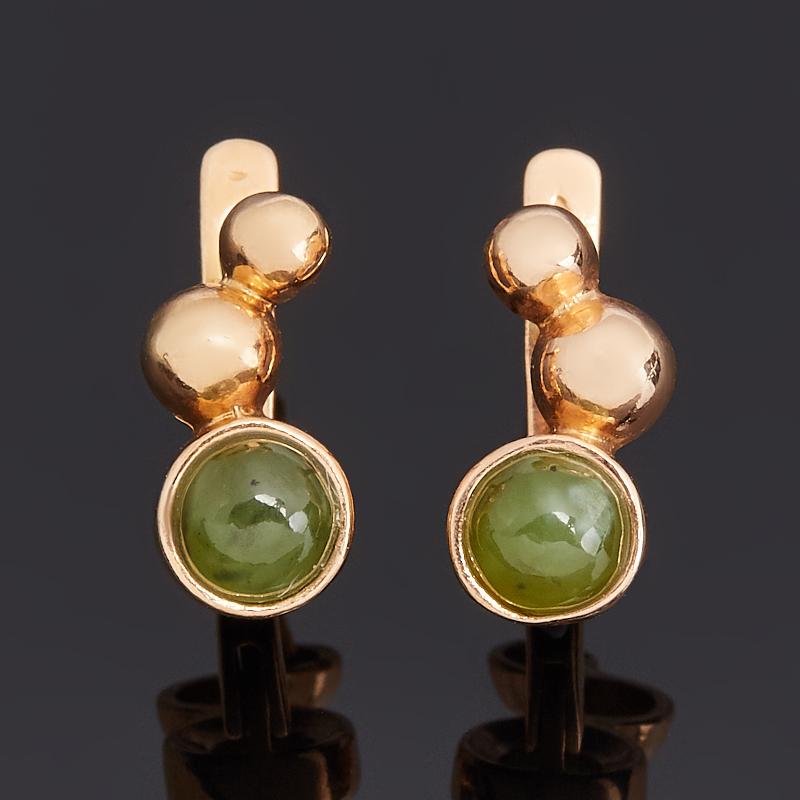 Серьги нефрит зеленый (серебро 925 пр. позолота)