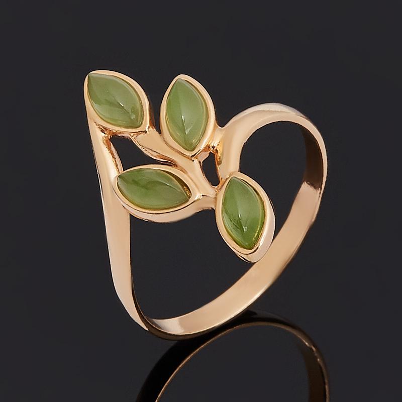Кольцо нефрит зеленый Россия (серебро 925 пр. позолота) размер 15