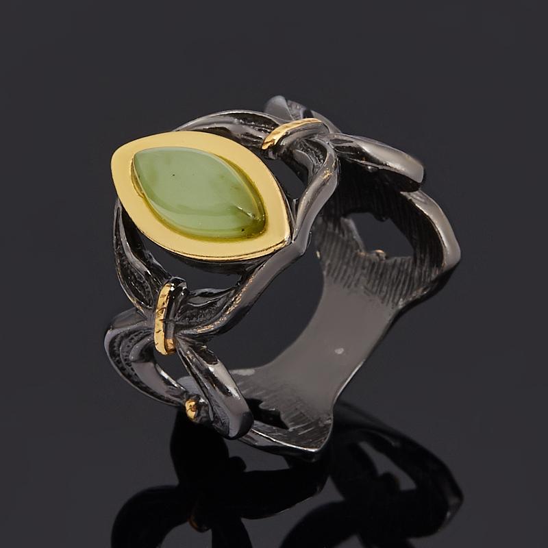 Кольцо нефрит зеленый (серебро 925 пр. позолота, родир. черн.) размер 18 липовский юрий олегович нефрит камень спокойствия
