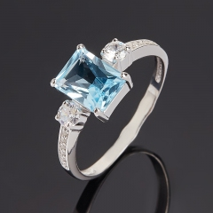 Кольцо топаз голубой Бразилия (серебро 925 пр. родир. бел.) огранка размер 17