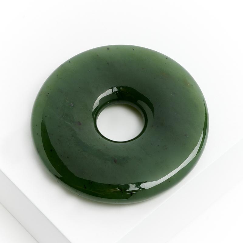 Кулон нефрит зеленый круг 4,5 см елочная игрушка нефрит зеленый 5 см
