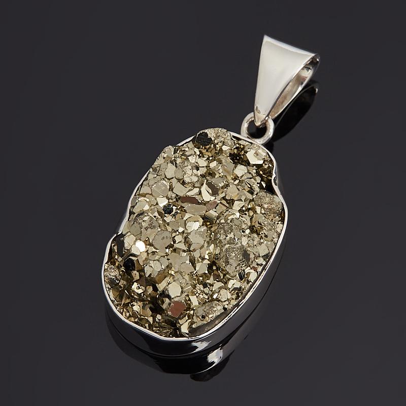 Кулон пирит (серебро 925 пр.) овал